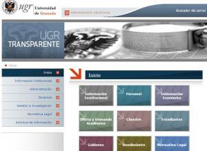 Apartado de transparencia en la web de la Universidad de Granada.