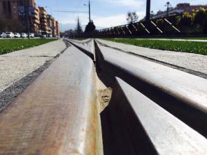 Detalle de las vías del Metro.