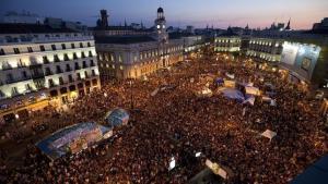Acampada en la Puerta del Sol el 15M.