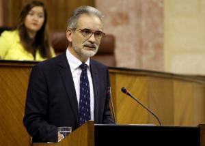Aquilino Alonso, este miércoles en el Parlamento andaluz.
