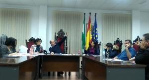 Votación durante un pleno en Cogollos Vega.