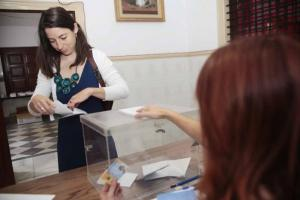 Marta Gutiérrez, al votar.