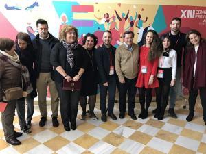 Patricia Carrasco, junto a Entrena y líderes provinciales del PSOE.