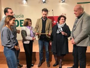 Los parlamentarios socialistas con Álex Casares y Olga Manzano.