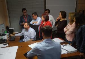 Seguimiento electoral en la sede del PSOE de Granada.