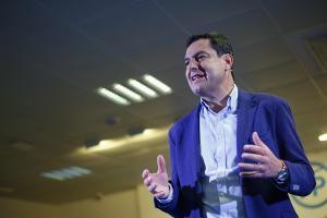 Juan Manuel Moreno, este jueves en Granada.