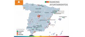 Mapa del ranking de ayuntamientos según su gasto social.