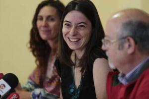 Marta Gutiérrez, junto a los otros dos futuros concejales.