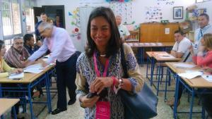 Mayte Olalla, al votar hoy.