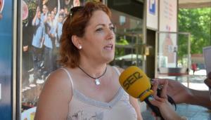 María del Carmen Pérez, esta semana al presentar la campaña Adelante Andalucía.