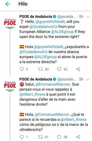 Captura de pantalla con el hilo de twitter del PSOE.