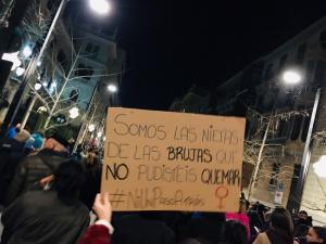 Pancarta, en la manifestación del pasado martes.