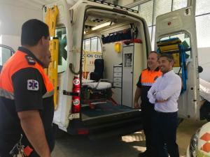 Olivares, en una visita a las instalaciones de Protección Civil.