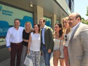 Pablo Casado, a su llegada este sábado a la sede del PP granadino.