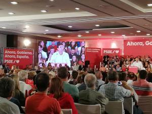 Francisco Cuenca, durante su intervención en el mitin de Pedro Sánchez.