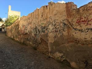 Estado del muro en la calle Parra de San Cecilio del Realejo.