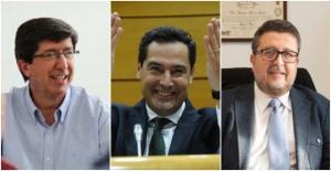 Líderes de C's, PP y Vox en Andalucía.