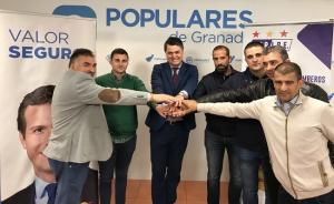 Rojas con los representantes sindicales.