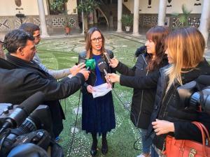 Rocío Díaz atiende a los medios este miércoles.