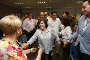 Soraya Sáenz de Santamaría, este domingo en Granada.
