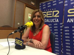 Susana Díaz durante la entrevista en 'Hoy por Hoy' de la Cadena SER.