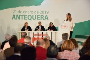 Susana Díaz, durante su intervención esta tarde en el acto del PSOE andaluz en Antequera.