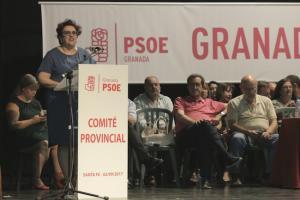 Teresa Jiménez, durante su intervención en el Comité Provincial.