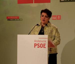 Teresa Jiménez en su comparecencia de hoy.