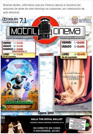 Información publicada en facebook por Motril Cinema.