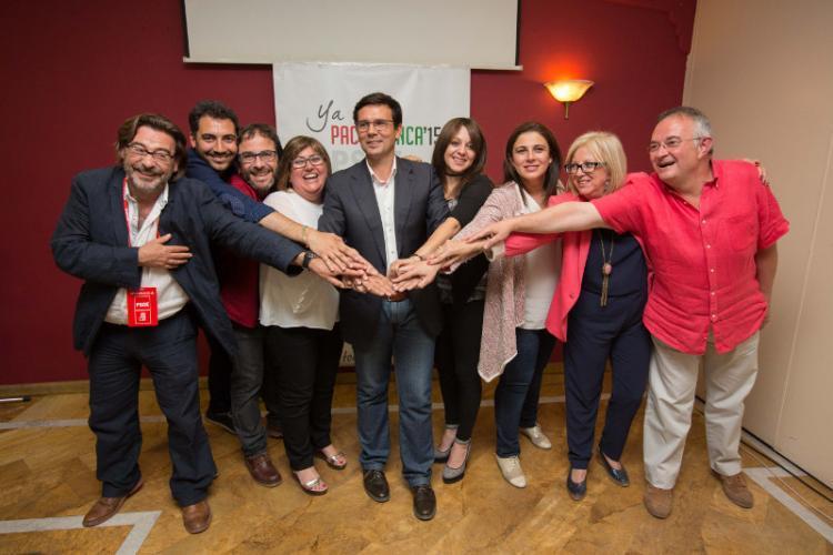 Concejales socialistas en la noche electoral de las municipales.