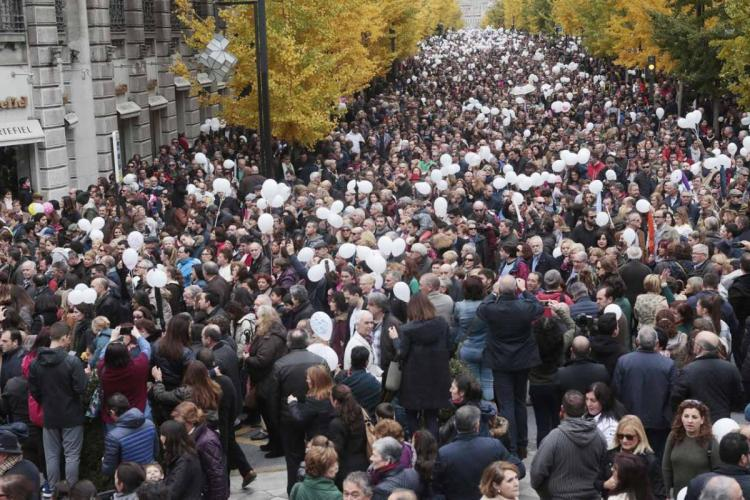 Imagen de la manifestación del pasado domingo contra la fusión hospitalaria.