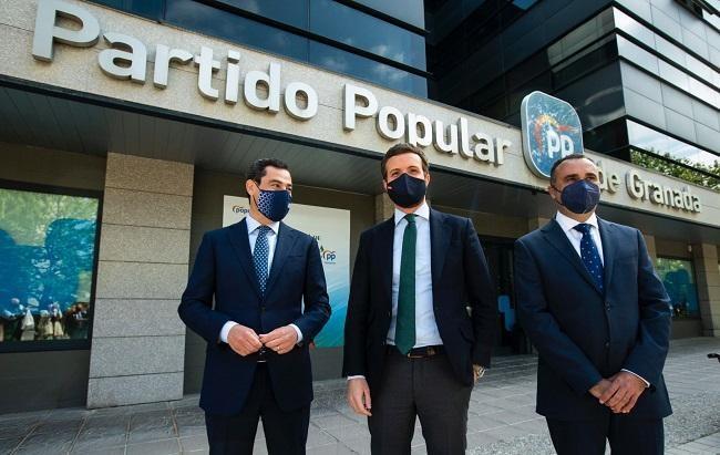Juan Manuel Moreno, Pablo Casado y Francisco Rodríguez.