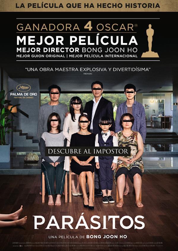 Cartel de la premiada película 'Parásitos'.
