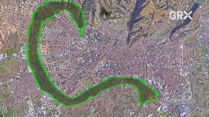 Montaje en el mapa del 'anillo verde' ideado por el Ayuntamiento.