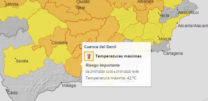 Mapa de Aemet con el aviso naranja en la Cuenca del Genil.