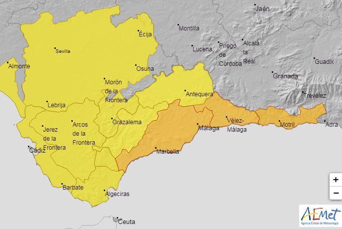 Avisos meteorológicos para este sábado en Andalucía.