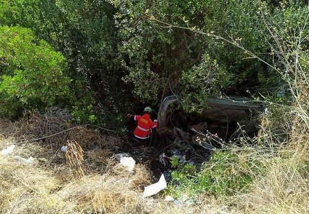El coche cayó a una zona de matorrales.