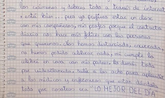 Parte de la carta escrita por Nicolle.