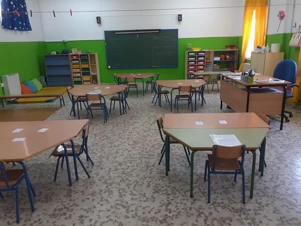 Aula de un centro educativo de Zafarraya.