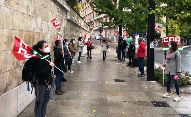 Protesta, a las puertas de la Junta, este jueves.