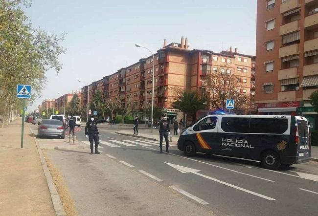 Un control de la Policía Nacional en una calle de la capital granadina.