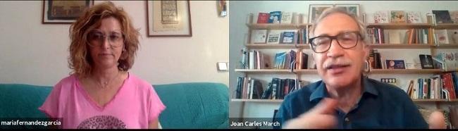 María Fernández García en la charla con Joan Carles March
