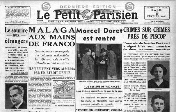 Publicación de Le Petit Parisien informando de la situación de Málaga.