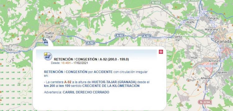 Captura de la incidencia de tráfico en la A-92 por el accidente.