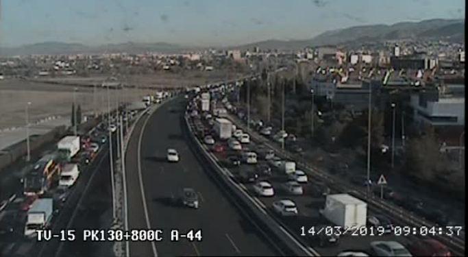 Imagen de la DGT que muestra la congestión en la Circunvalación.