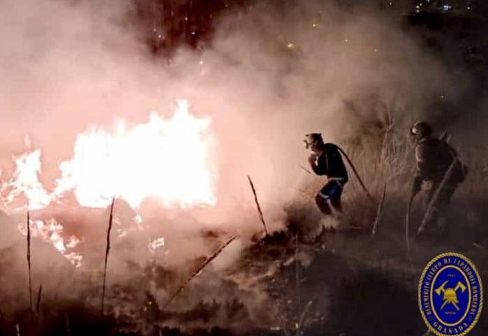 Bomberos de Granada, esta madrugada en la extinción del fuego.