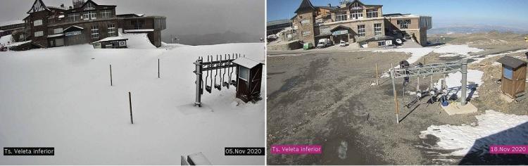 Imágenes de Borreguiles del 5 de noviembre, cuando cayó la última nevada, y de este miércoles.
