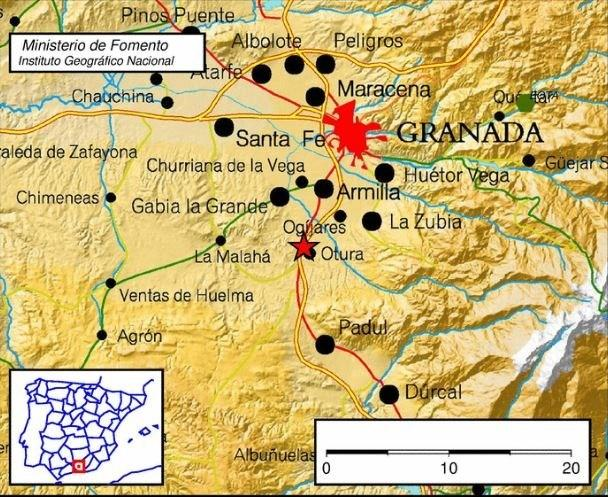 Mapa de localización del seísmo.