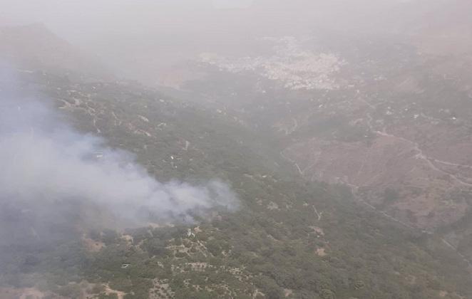 Imagen del fuego desde el helicóptero del Infoca.