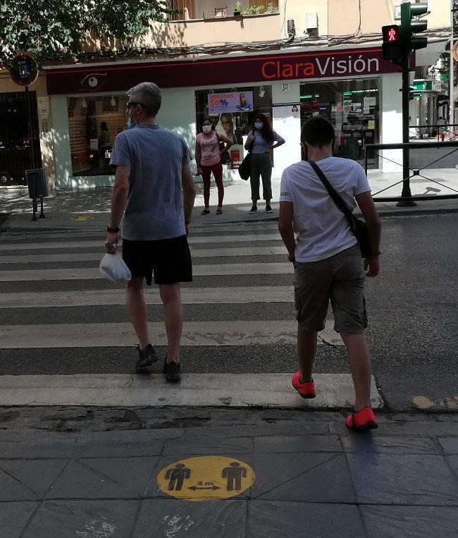 Paso de peatones en la Avenida de Dílar, en la capital.
